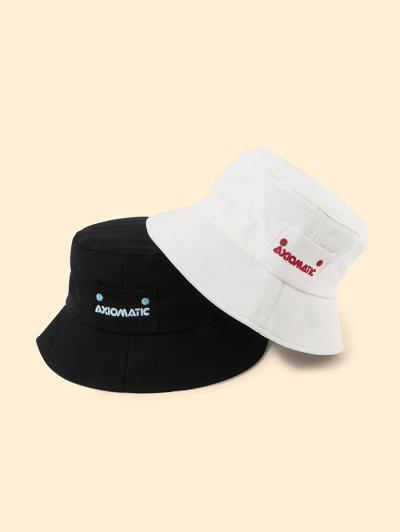 2Pcs Letters Embroidered Bucket Hat Set - Multi-a
