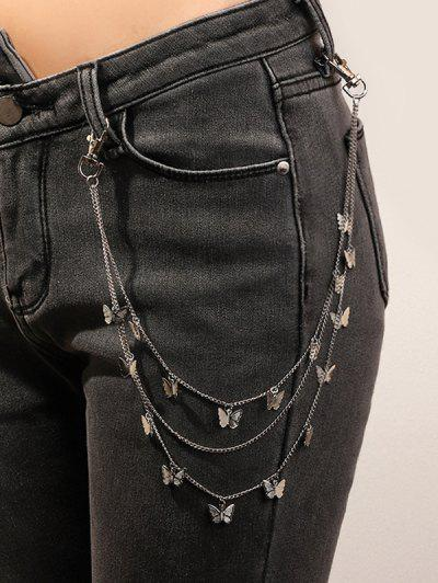 Butterfly Multilayered Trousers Chain - Silver