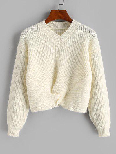 Suéter Enrolado Barriga De Fora Com Gola Em V Cortado - Branco Morno