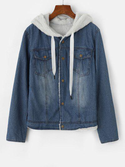 Hooded Faux Fur Lining Pocket Denim Jacket - Blue M