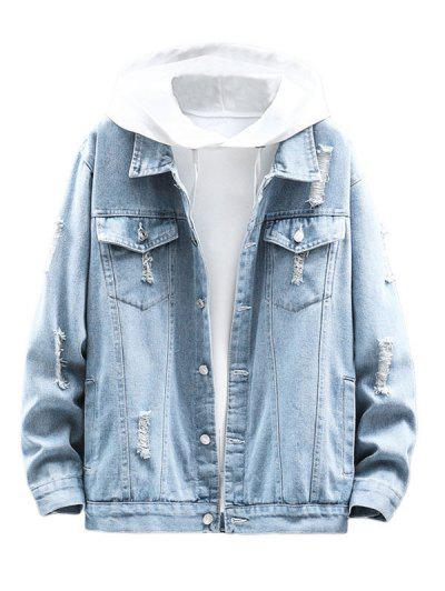 Distressed Ripped Denim Jacket - Light Blue M