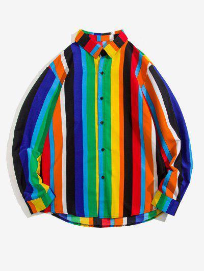 Stripes Shark Print Long Sleeve Shirt - Multi 2xl
