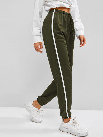Contrast Side Tie Detail Jogger Pants - Light Green Xl