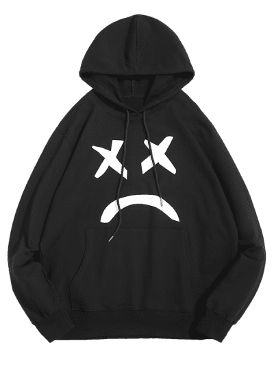 Abstract Sad Face Graphic Front Pocket Casual Hoodie