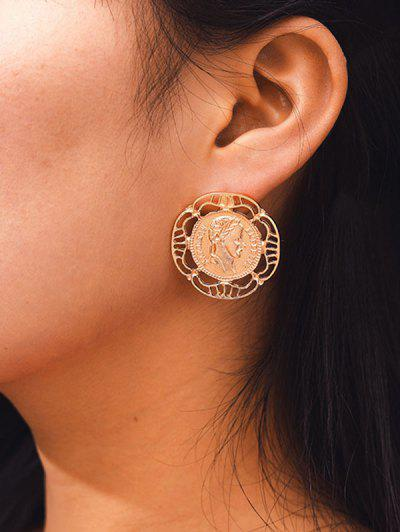 Hollow Out Coin Stud Earrings - Golden