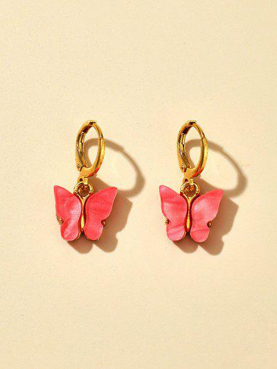 Acrylic Butterfly Small Clip Earrings - Orange Pink