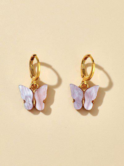 Acrylic Butterfly Small Clip Earrings - Mauve