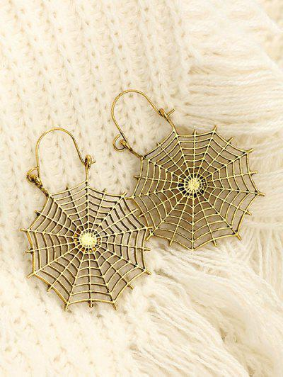 Halloween Spider Web Drop Earrings - Golden