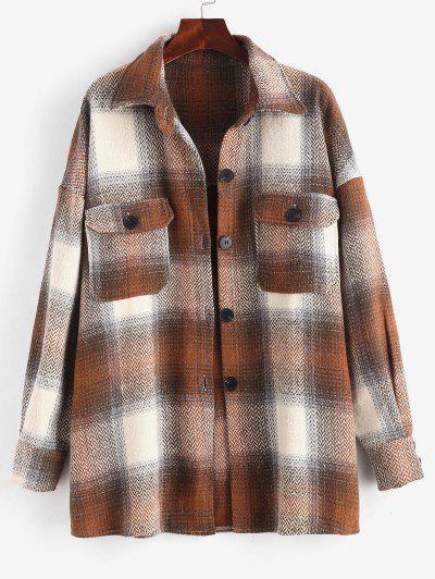 Button Up Plaid Tweed Cargo Coat - Multi L
