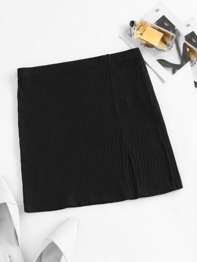 ZAFUL Ribbed Slit Bodycon Skirt - Black L