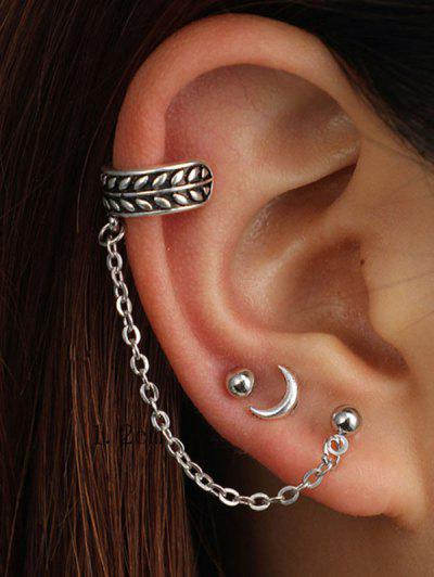 3 Piece Moon Stud And Ear Cuff Earring Set - Silver