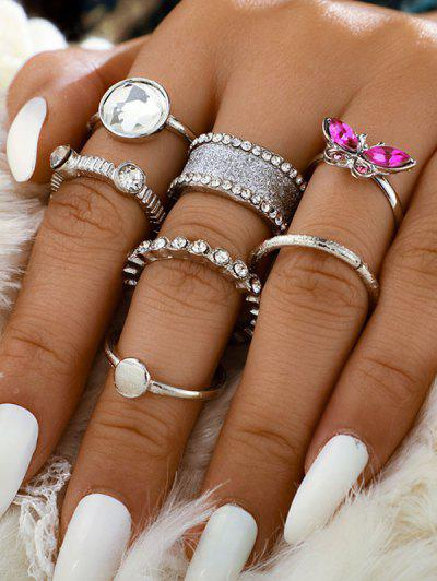 Faux Gem Rhinestone Butterfly Rings Set - Silver