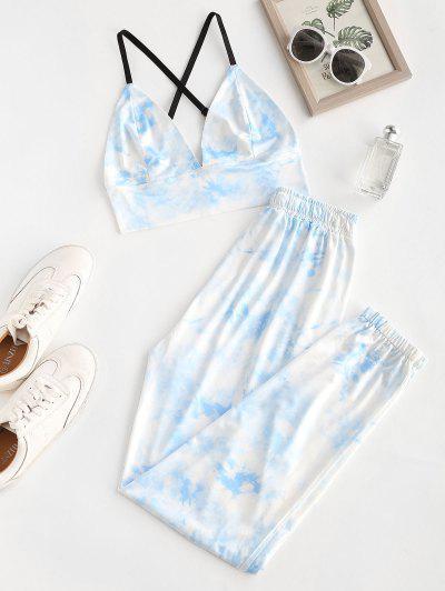 Top E Pantaloni Di Tie-Dye - Blu M