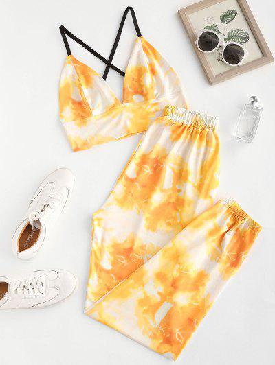 Tie Dye Crisscross Two Piece Pants Set - Yellow S