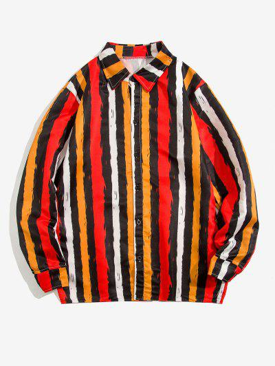 Contrast Stripe Print Long Sleeve Shirt - Yellow 2xl