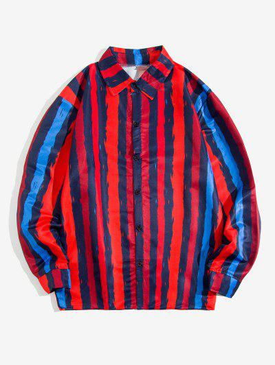 Contrast Stripe Print Long Sleeve Shirt - Red Xl