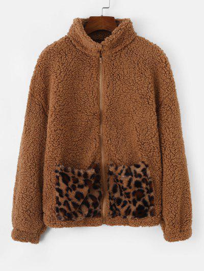 Pockets Leopard Faux Fur Zip Up Teddy Coat - Brown Bear L