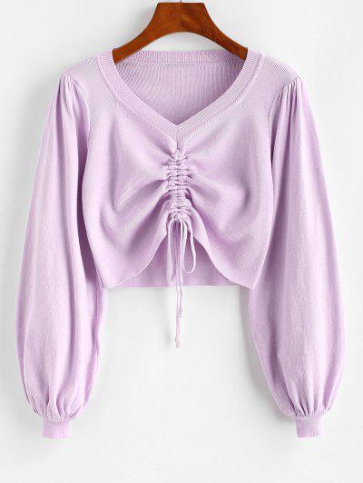 V Neck Cinched Puff Sleeve Crop Sweater - Pig Pink S