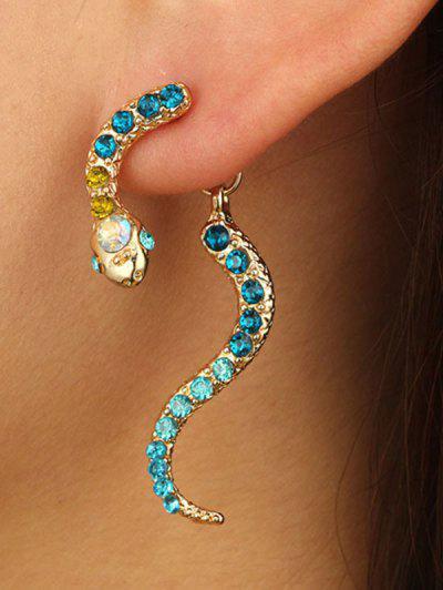 Rhinestone Snake Shape Jacket Earrings - Light Aquamarine