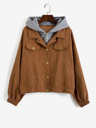 ZAFUL Hooded Snap Button Combo Corduroy Jacket - Oak Brown M