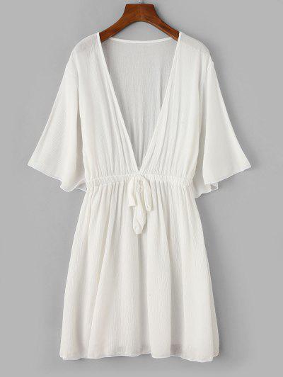 ZAFUL Plunging Bowknot Elastic Waist Beach Dress - White L