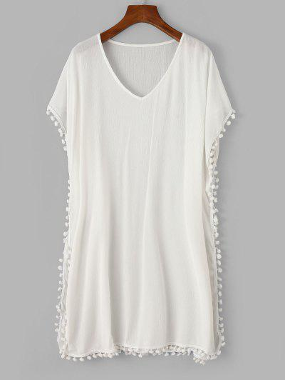 ZAFUL Pom Pom V Neck Poncho Cover Up Dress - White M