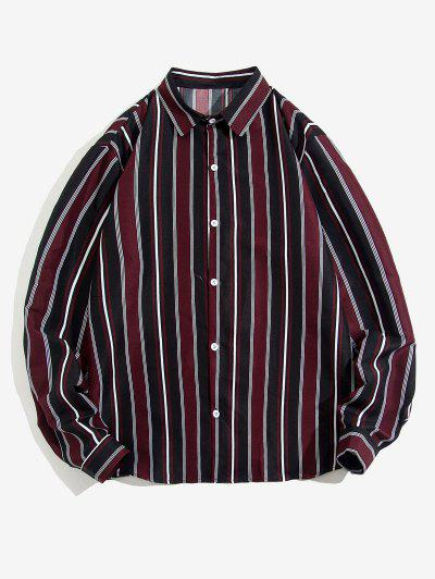 Striped Feather Print Long Sleeve Shirt - Deep Red Xl