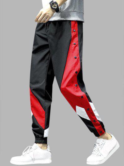 Colorblock Panel Button Embellishment Pants - Red 2xl