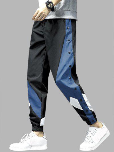 Colorblock Panel Button Embellishment Pants - Blue 2xl