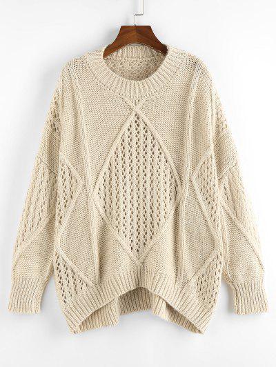 ZAFUL Openwork Drop Shoulder Oversize Sweater - Light Coffee M