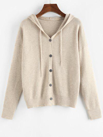 ZAFUL Hooded Drop Shoulder Button Up Cardigan - Light Coffee S