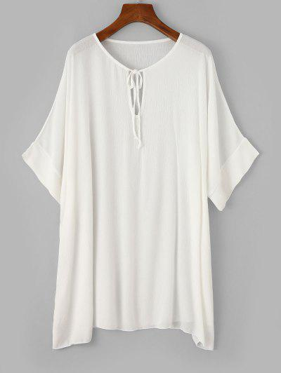 ZAFUL Keyhole Batwing Sleeve Tunic Beach Dress - White L