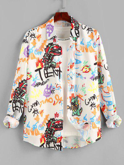 ZAFUL Cartoon Dinosaur Graphic Print Long Sleeve Shirt - White M