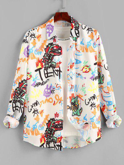 ZAFUL Cartoon Dinosaur Graphic Print Long Sleeve Shirt - White L