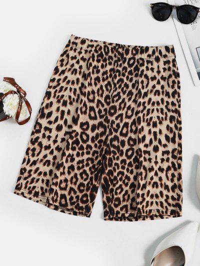 Leopard Animal Printed High Rise Biker Shorts - Coffee L