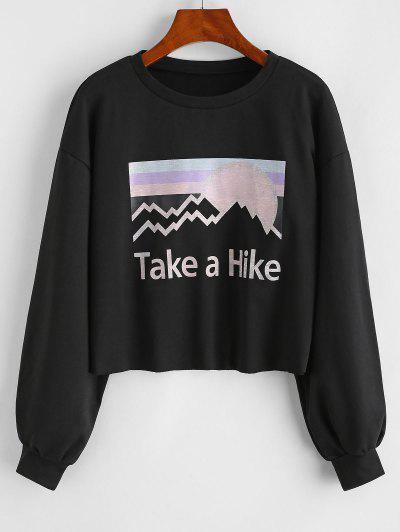 Take A Hike Sun Graphic Drop Shoulder Sweatshirt - Black S