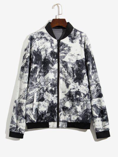 Zip Up Print Stand Collar Jacket - Gray M
