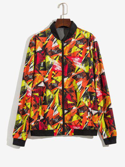 Zip Up Print Stand Collar Jacket - Red S