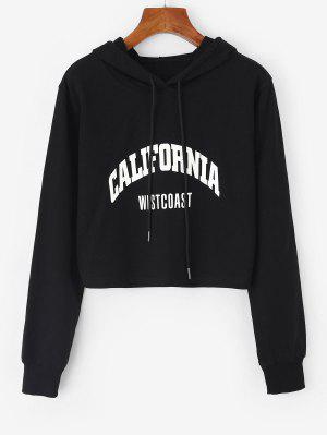 zaful Letter Drawstring Crop Hoodie