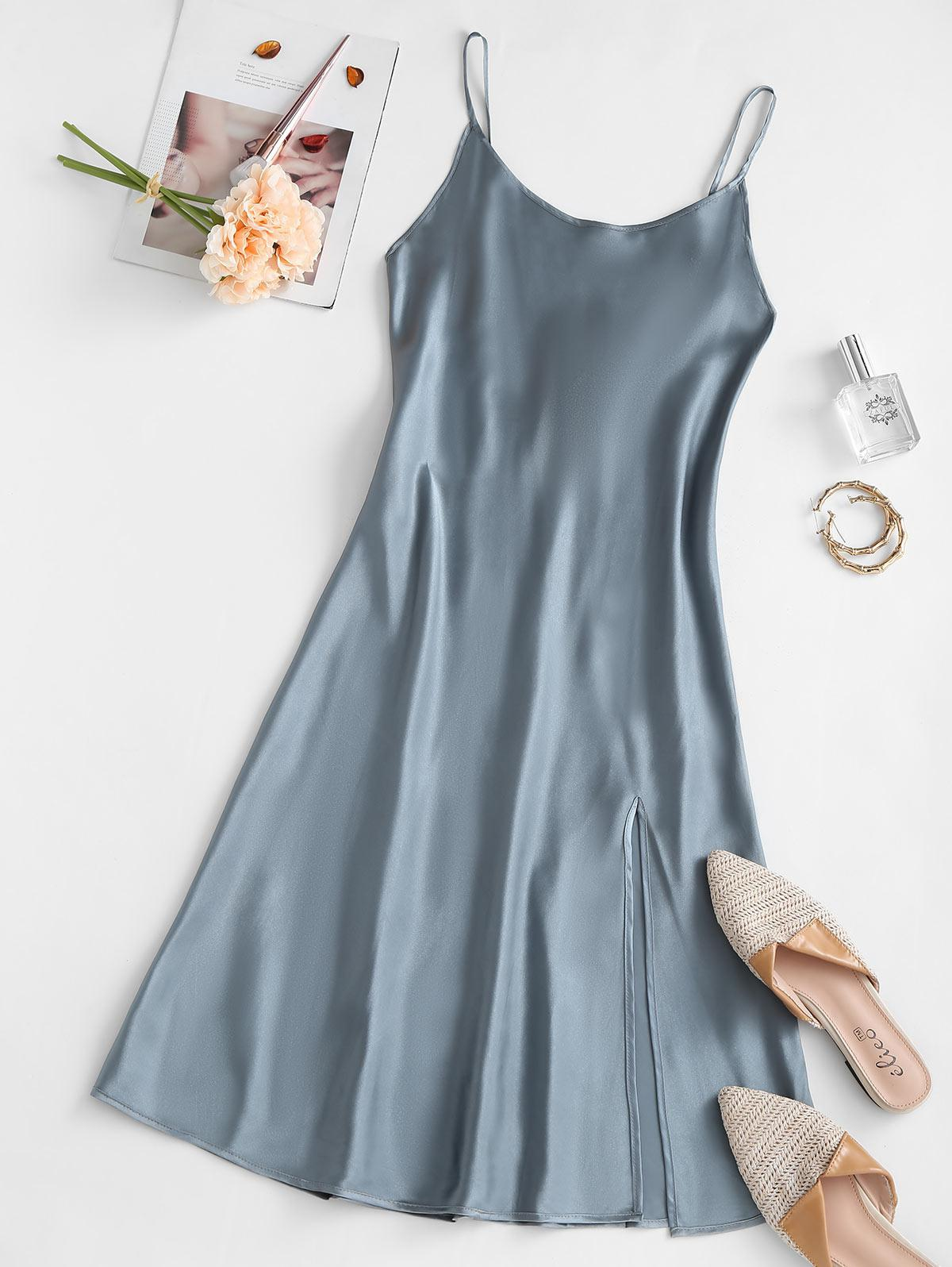 Sleep Slit Silky Satin Slip Dress