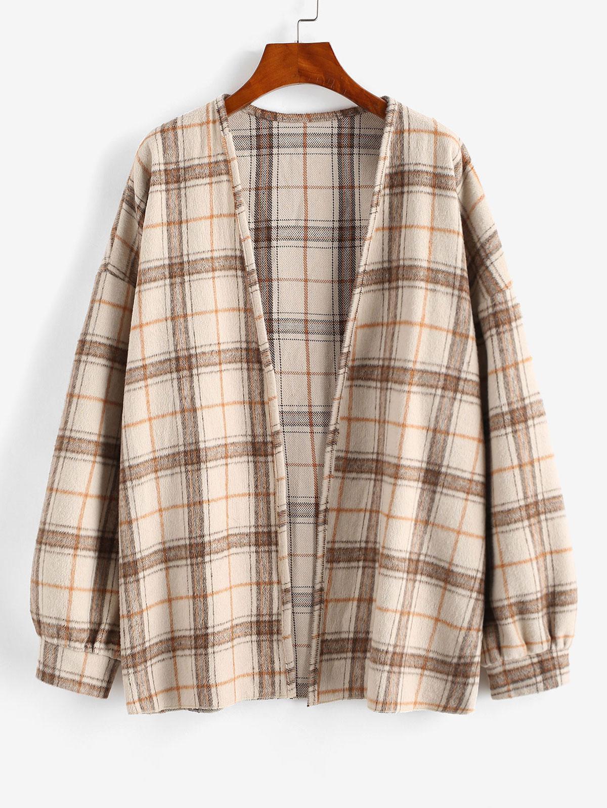 Plaid Drop Shoulder Open Front Coat