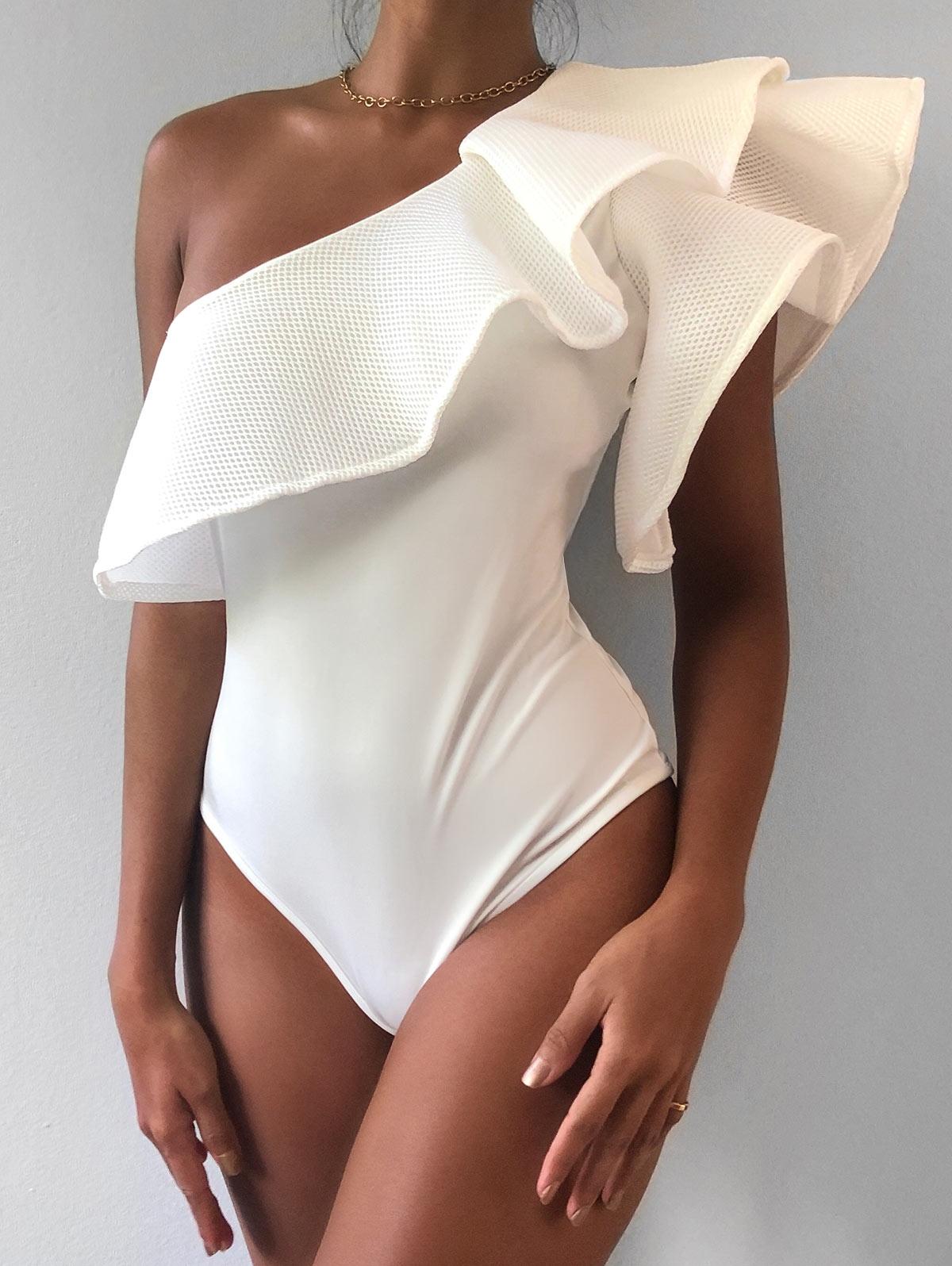 Openwork Flounce One Shoulder Bodysuit