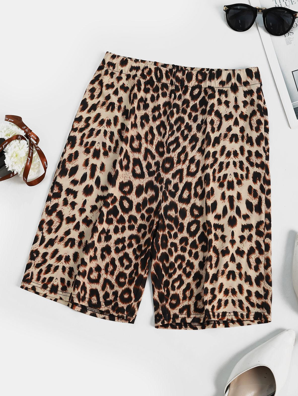 Leopard Animal Printed High Rise Biker Shorts