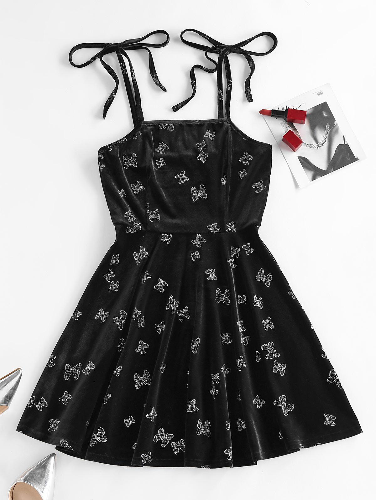 ZAFUL Tie Shoulder Butterfly Velvet Mini Dress