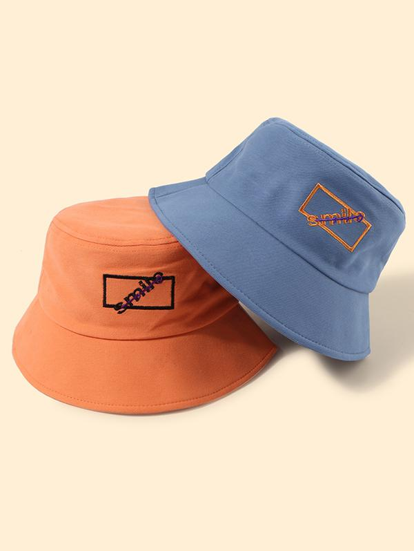 2Pcs Embroidery Smile Bucket Hat Set
