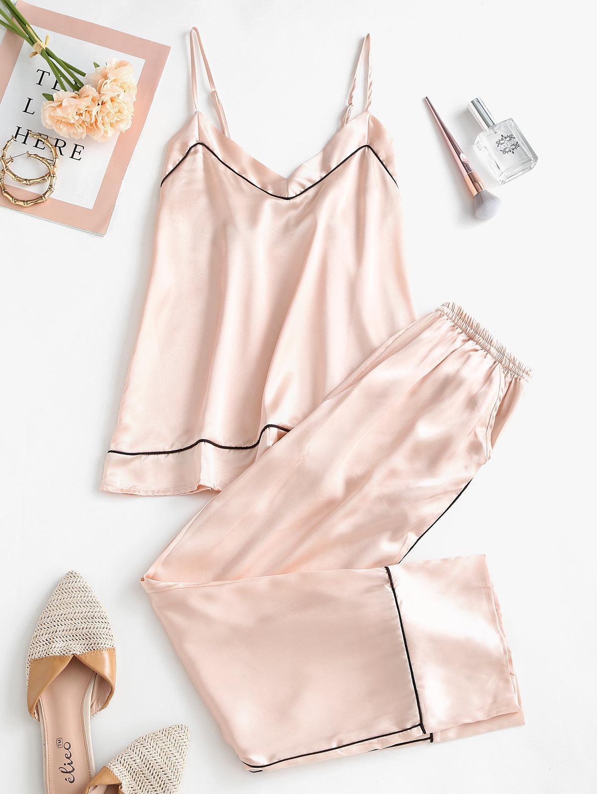 Pockets Contrast Piping Satin Pajama Set