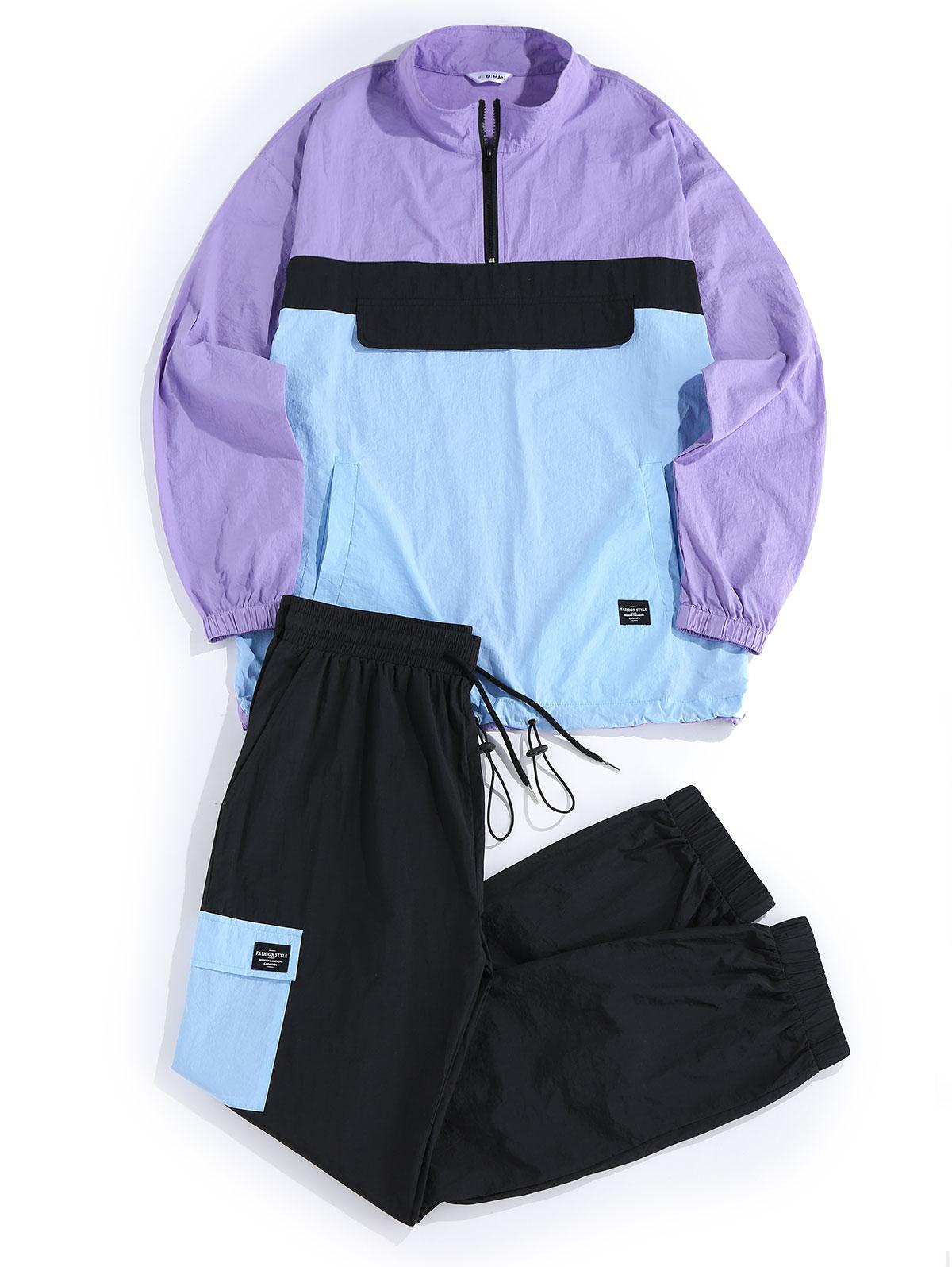 ZAFUL Colorblock Panel Jacket and Pants Set
