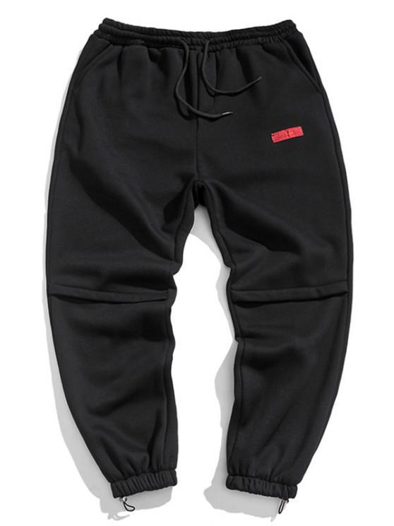 Jogger Pantalones con Diseño de Letras - Negro L