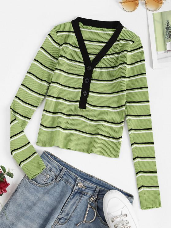 online V Neck Ribbed Striped Button Placket Sweater - LIGHT GREEN ONE SIZE