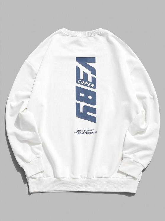 Letter Print Basic Sweatshirt - أبيض طبيعي XL